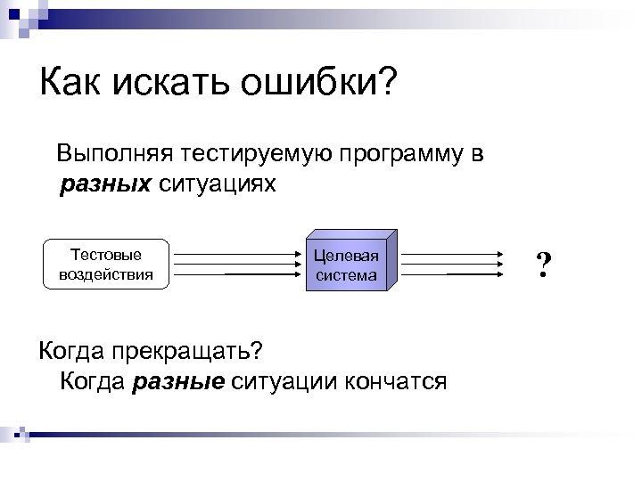 Как искать ошибки? Выполняя тестируемую программу в разных ситуациях Тестовые воздействия Целевая система Когда