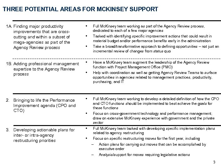 THREE POTENTIAL AREAS FOR MCKINSEY SUPPORT 1 A. Finding major productivity improvements that are
