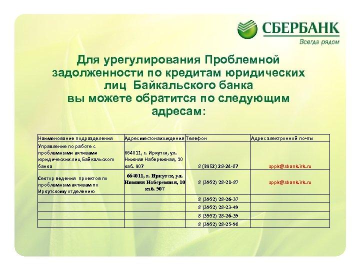 Для урегулирования Проблемной задолженности по кредитам юридических лиц Байкальского банка вы можете обратится по