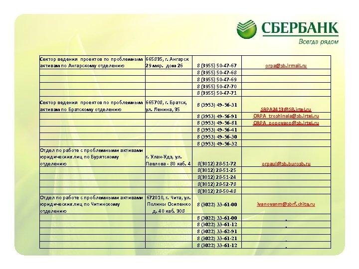 Сектор ведения проектов по проблемным активам по Ангарскому отделению 665835, г. Ангарск 29 мкр.