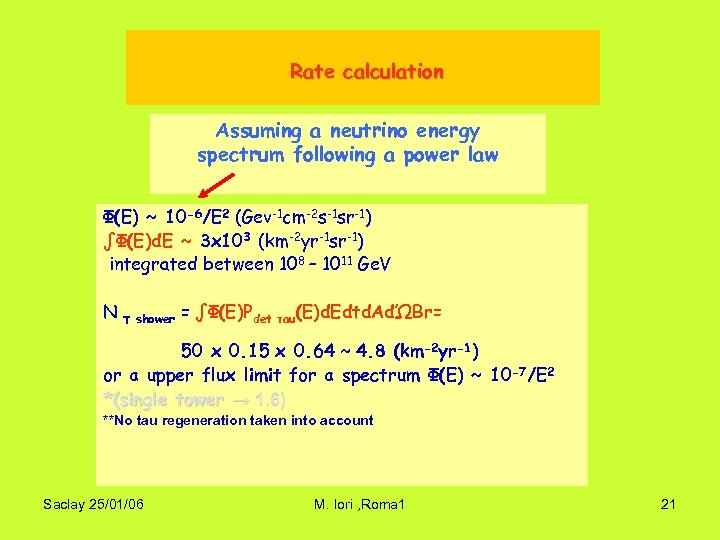 Rate calculation Assuming a neutrino energy spectrum following a power law Φ(E) ~ 10