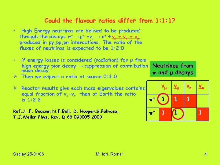 Could the flavour ratios differ from 1: 1: 1? • High Energy neutrinos are