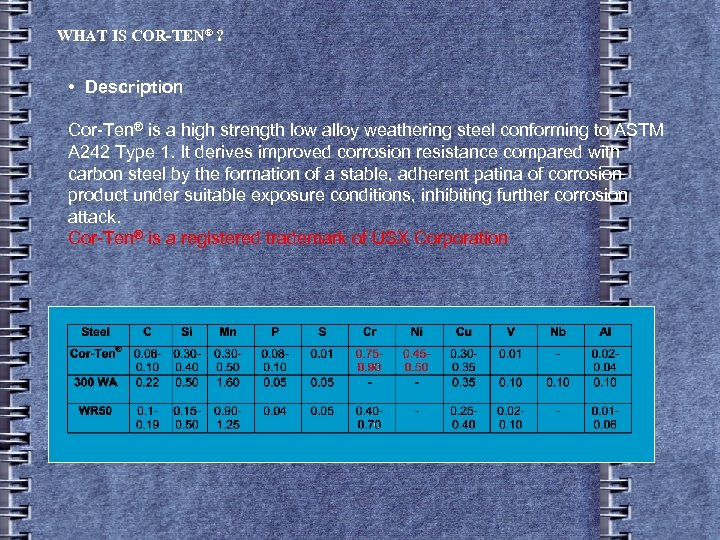 WHAT IS COR-TEN® ? • Description Cor-Ten® is a high strength low alloy weathering