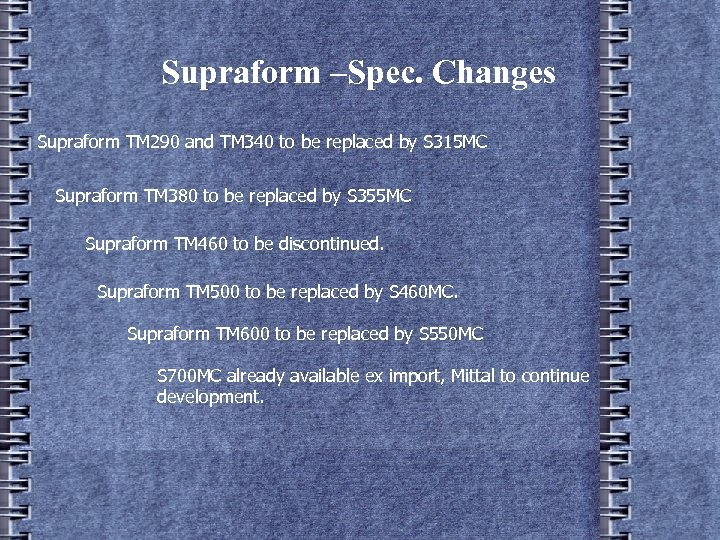Supraform –Spec. Changes Supraform TM 290 and TM 340 to be replaced by S