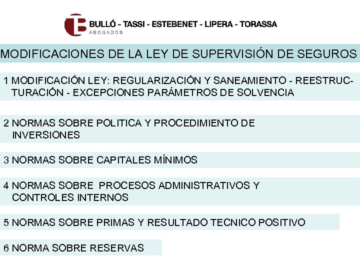MODIFICACIONES DE LA LEY DE SUPERVISIÓN DE SEGUROS 1 MODIFICACIÓN LEY: REGULARIZACIÓN Y SANEAMIENTO
