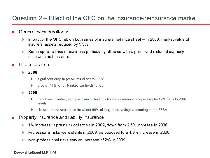 Question 2 – Effect of the GFC on the insurance/reinsurance market ■ General considerations: