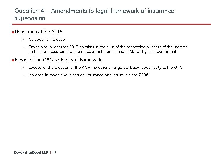 Question 4 – Amendments to legal framework of insurance supervision ■Resources of the ACP: