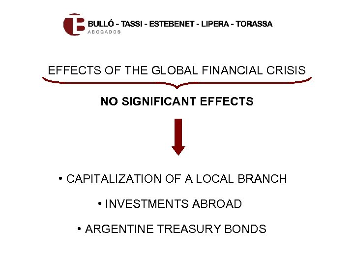 EFFECTS OF THE GLOBAL FINANCIAL CRISIS NO SIGNIFICANT EFFECTS • CAPITALIZATION OF A LOCAL