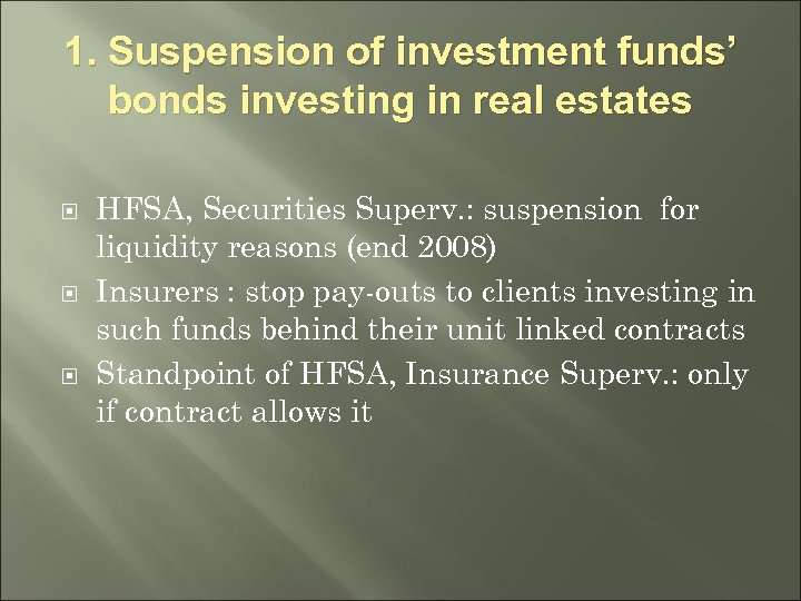 1. Suspension of investment funds' bonds investing in real estates HFSA, Securities Superv. :