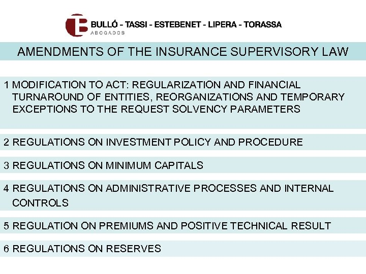 AMENDMENTS OF THE INSURANCE SUPERVISORY LAW 1 MODIFICATION TO ACT: REGULARIZATION AND FINANCIAL TURNAROUND