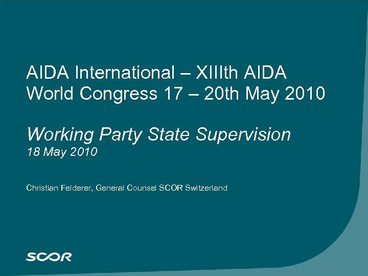 Cliquez pour modifier le style du titre du masque AIDA International – XIIIth AIDA