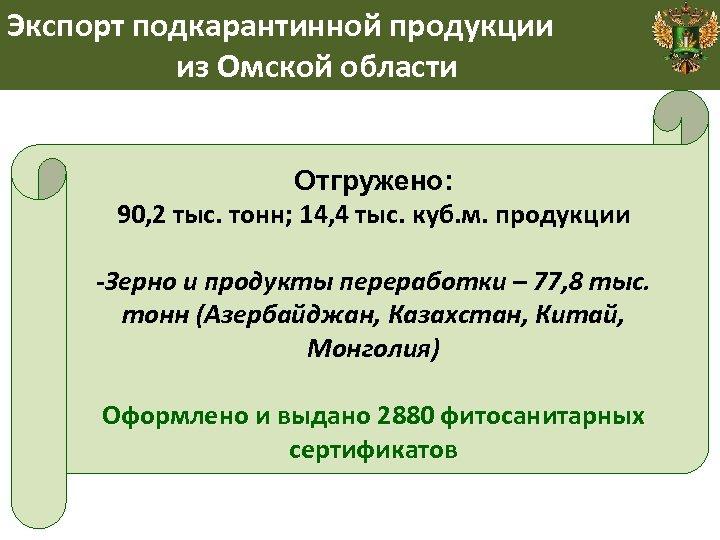 Экспорт подкарантинной продукции из Омской области Отгружено: 90, 2 тыс. тонн; 14, 4 тыс.