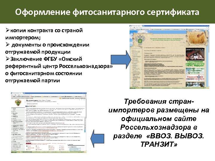 Оформление фитосанитарного сертификата Øкопия контракта со страной импортером; Ø документы о происхождении отгружаемой продукции