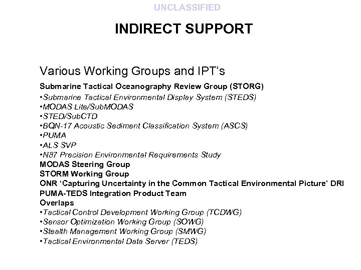 UNCLASSIFIED INDIRECT SUPPORT Various Working Groups and IPT's Submarine Tactical Oceanography Review Group (STORG)