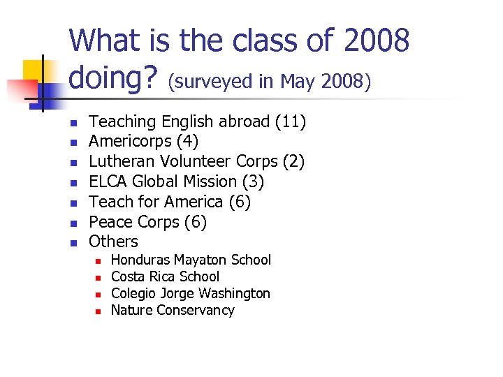 What is the class of 2008 doing? (surveyed in May 2008) n n n