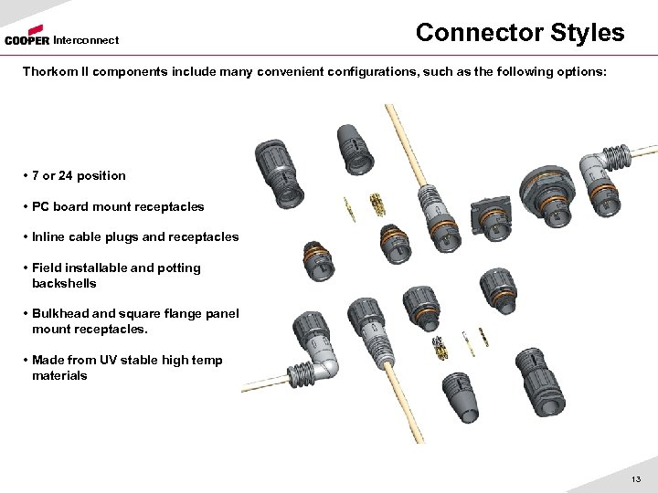 Interconnect Connector Styles Thorkom II components include many convenient configurations, such as the following