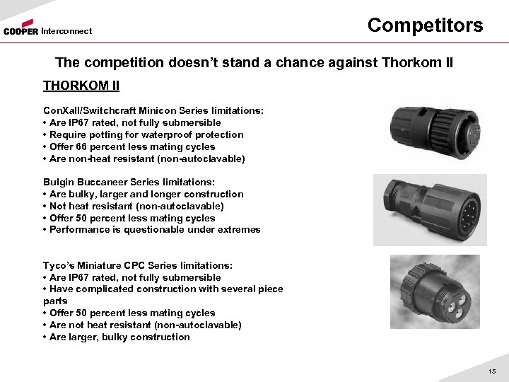 Interconnect Competitors The competition doesn't stand a chance against Thorkom II THORKOM II Con.