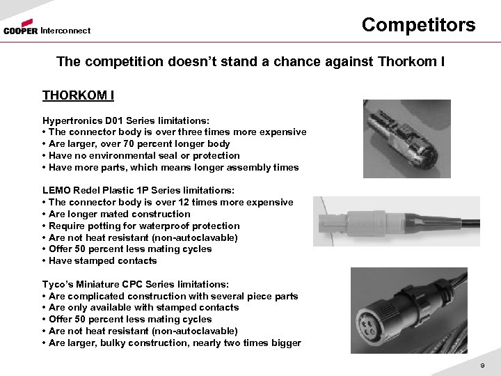 Interconnect Competitors The competition doesn't stand a chance against Thorkom I THORKOM I Hypertronics