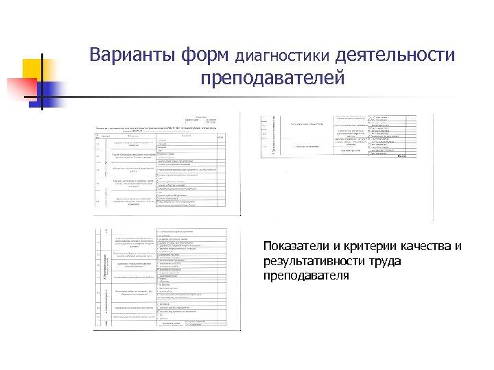 Варианты форм диагностики деятельности преподавателей Показатели и критерии качества и результативности труда преподавателя