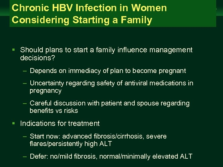 Chronic HBV Infection in Women Considering Starting a Family Management of Chronic Hepatitis B