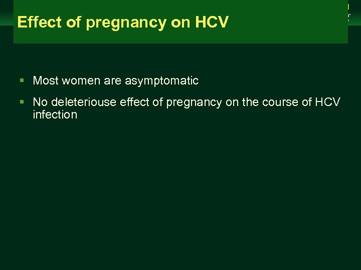 Management of Chronic Hepatitis B Virus Infection in Women of Reproductive Age Effect of