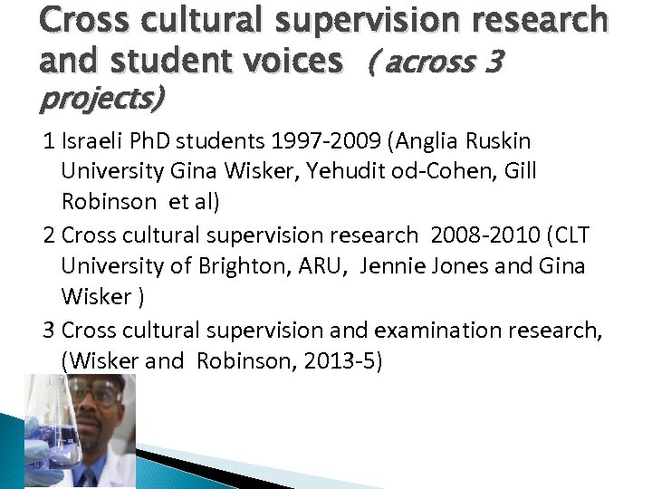 Cross cultural supervision research and student voices ( across 3 projects) 1 Israeli Ph.