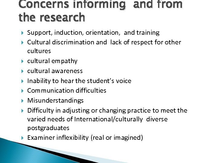 Concerns informing and from the research Support, induction, orientation, and training Cultural discrimination and