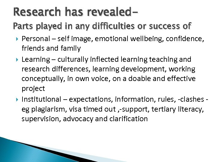 Research has revealed- Parts played in any difficulties or success of Personal – self