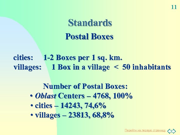 11 Standards Postal Boxes cities: 1 -2 Boxes per 1 sq. km. villages: 1