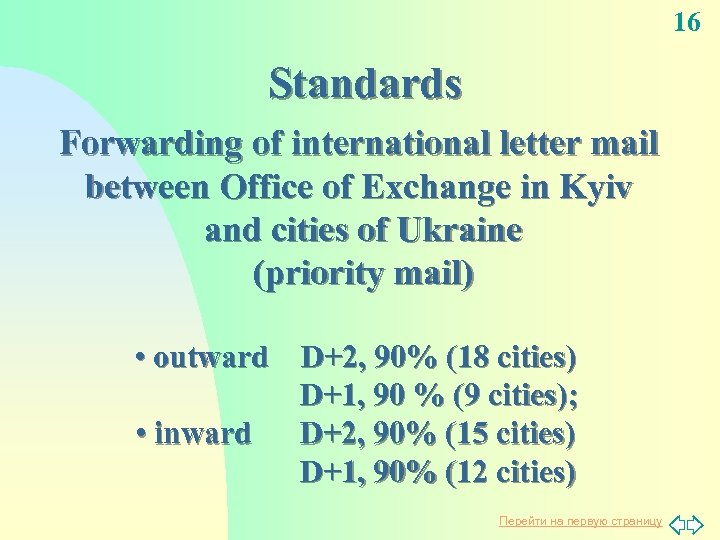 16 Standards Forwarding of international letter mail between Office of Exchange in Kyiv and