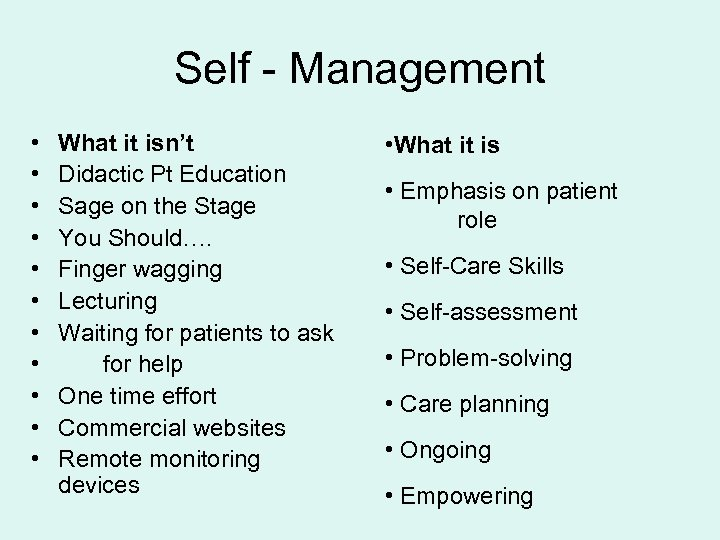 Self - Management • • • What it isn't Didactic Pt Education Sage on