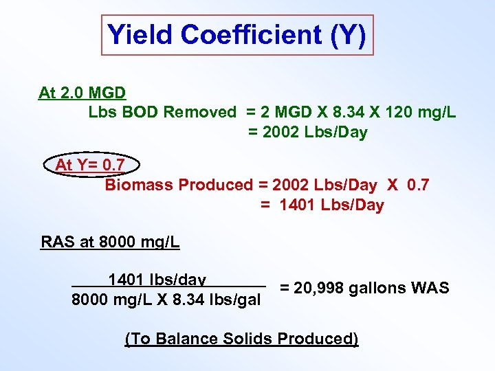 Yield Coefficient (Y) At 2. 0 MGD Lbs BOD Removed = 2 MGD X