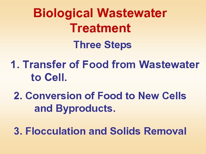 Biological Wastewater Treatment Three Steps 1. Transfer of Food from Wastewater to Cell. 2.