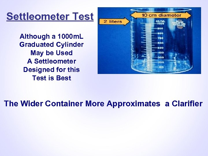 Settleometer Test Although a 1000 m. L Graduated Cylinder May be Used A Settleometer