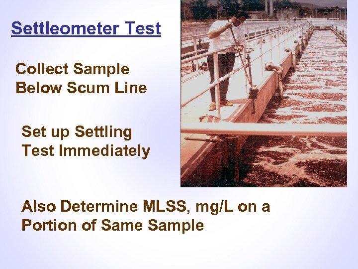 Settleometer Test Collect Sample Below Scum Line Set up Settling Test Immediately Also Determine