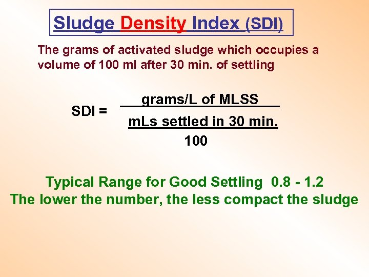 Sludge Density Index (SDI) The grams of activated sludge which occupies a volume of