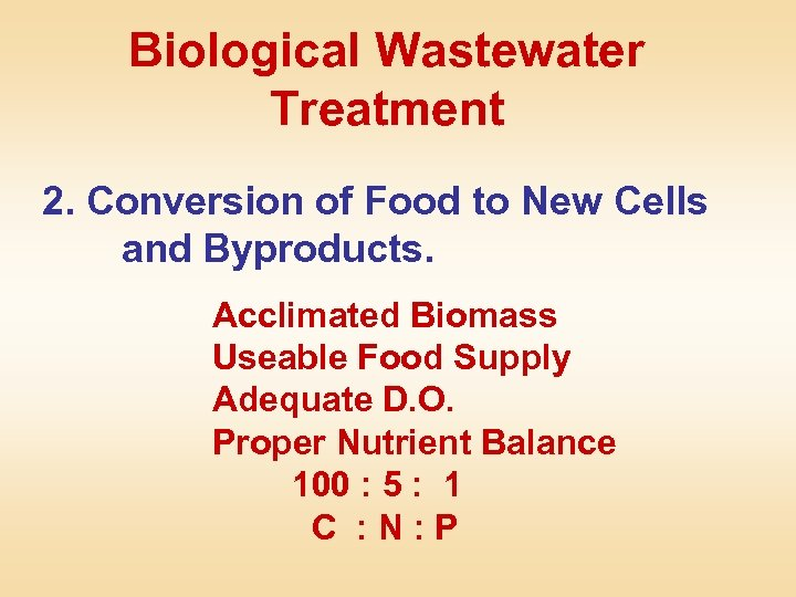 Biological Wastewater Treatment 2. Conversion of Food to New Cells and Byproducts. Acclimated Biomass