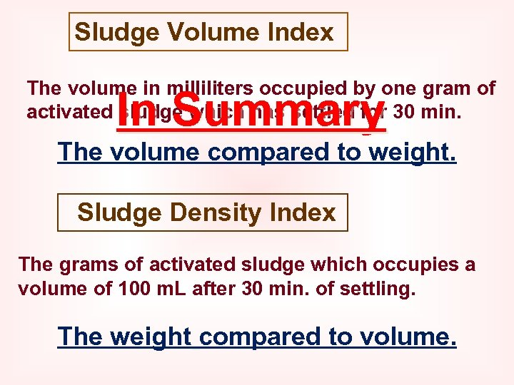 Sludge Volume Index The volume in milliliters occupied by one gram of activated sludge