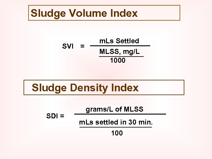 Sludge Volume Index SVI = m. Ls Settled MLSS, mg/L 1000 Sludge Density Index