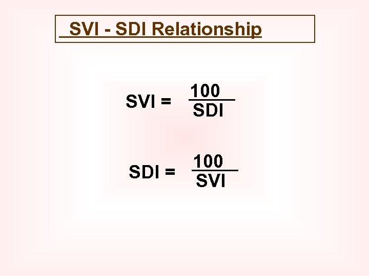 SVI - SDI Relationship 100 SVI = SDI 100 SDI = SVI