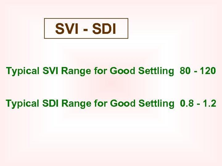 SVI - SDI Typical SVI Range for Good Settling 80 - 120 Typical SDI