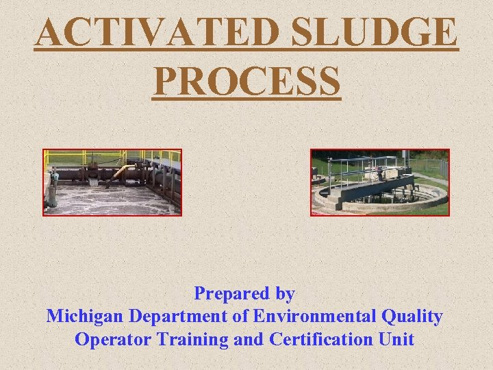 ACTIVATED SLUDGE PROCESS Prepared by Michigan Department of Environmental Quality Operator Training and Certification