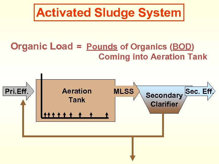Activated Sludge System Organic Load = Pounds of Organics (BOD) Coming into Aeration Tank