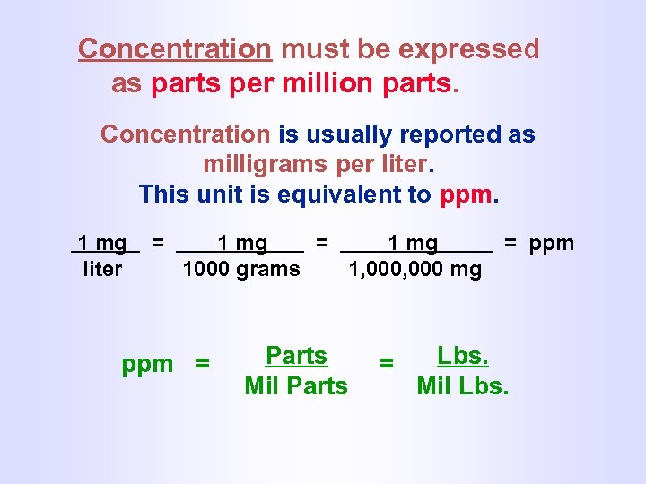 Concentration must be expressed as parts per million parts. Concentration is usually reported as