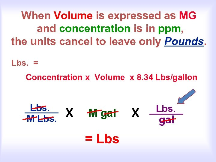 When Volume is expressed as MG and concentration is in ppm, the units cancel