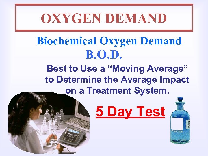 "OXYGEN DEMAND Biochemical Oxygen Demand B. O. D. Best to Use a ""Moving Average"""