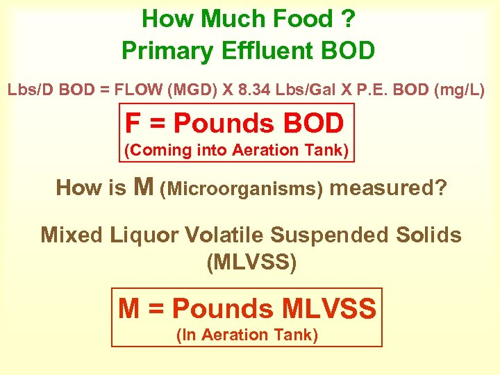 How Much Food ? Primary Effluent BOD Lbs/D BOD = FLOW (MGD) X 8.