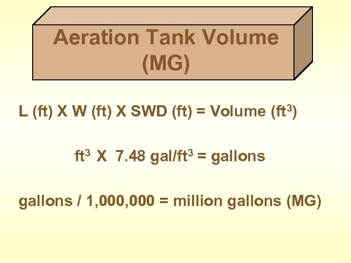 Aeration Tank Volume (MG) L (ft) X W (ft) X SWD (ft) = Volume