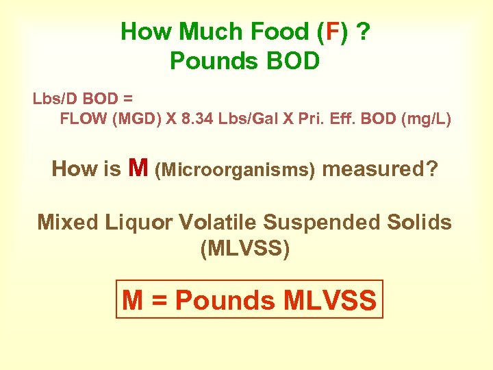 How Much Food (F) ? Pounds BOD Lbs/D BOD = FLOW (MGD) X 8.