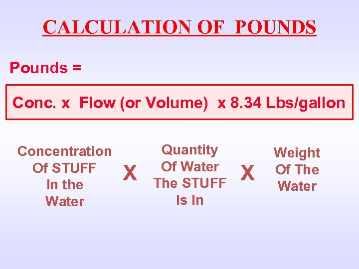 CALCULATION OF POUNDS Pounds = Conc. x Flow (or Volume) x 8. 34 Lbs/gallon